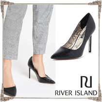 River Island Faux Fur Blended Fabrics Pin Heels Pointed Toe Pumps & Mules