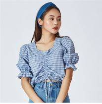 MIXXO Other Check Patterns Casual Style Puffed Sleeves Cotton