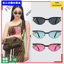 FENDI Unisex Street Style Collaboration Cat Eye Glasses Sunglasses