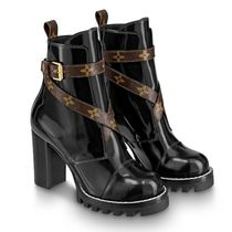 Louis Vuitton MONOGRAM Studded Plain Leather Block Heels Ankle & Booties Boots