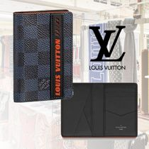 Louis Vuitton DAMIER COBALT Other Check Patterns Leather Folding Wallets