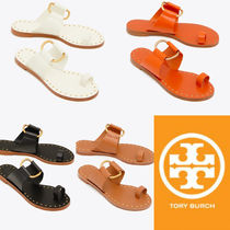 Tory Burch Tory Burch FLEMING Rubber Sole Casual Style Blended Fabrics Plain Leather