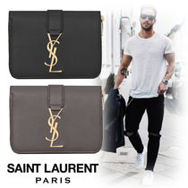 Saint Laurent Unisex Street Style Plain Leather Folding Wallets