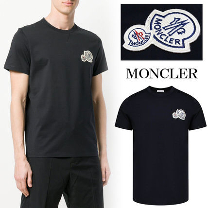 MONCLER Crew Neck Crew Neck Plain Cotton Short Sleeves Crew Neck T-Shirts
