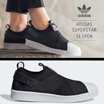 adidas SUPERSTAR Round Toe Rubber Sole Casual Style Unisex Street Style Plain