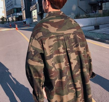 Camouflage Street Style Long Sleeves Cotton Shirts