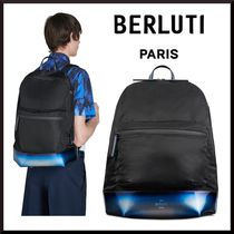 Berluti Blended Fabrics Plain Leather Backpacks