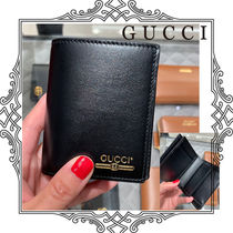 GUCCI Unisex Street Style Plain Leather Folding Wallets