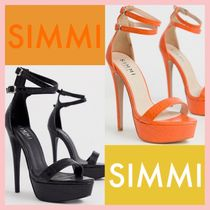 SIMMI Open Toe Platform Faux Fur Plain Other Animal Patterns