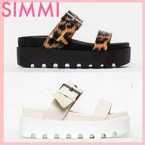 SIMMI Leopard Patterns Open Toe Platform Casual Style Faux Fur