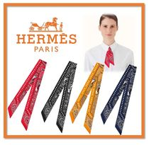 HERMES Paisley Casual Style Silk Lightweight Scarves & Shawls