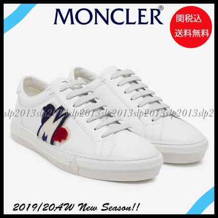 MONCLER Sneakers Blended Fabrics Plain Leather Logo Sneakers