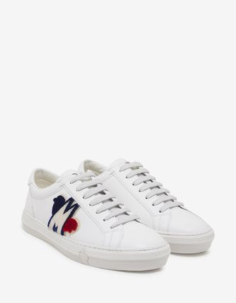 MONCLER Sneakers Blended Fabrics Plain Leather Logo Sneakers 2