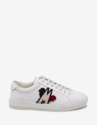 MONCLER Sneakers Blended Fabrics Plain Leather Logo Sneakers 3