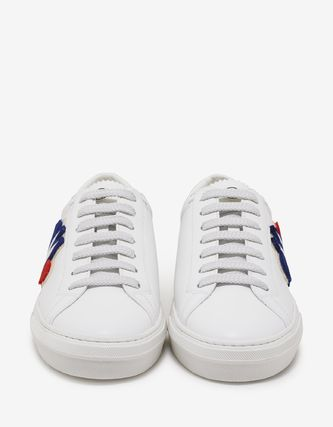 MONCLER Sneakers Blended Fabrics Plain Leather Logo Sneakers 4