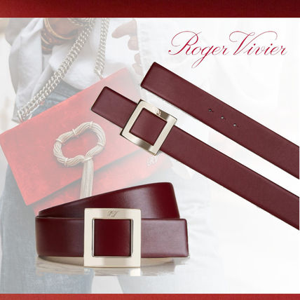 Casual Style Plain Leather Bold Belts