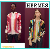 HERMES Silk Blended Fabrics Long Sleeves Elegant Style