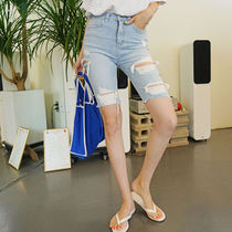 Denim Street Style Plain Medium Jeans