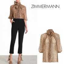 Zimmermann Leopard Patterns Silk Medium Puff Sleeves Shirts & Blouses