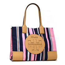 Tory Burch ELLA TOTE Stripes Casual Style A4 Totes