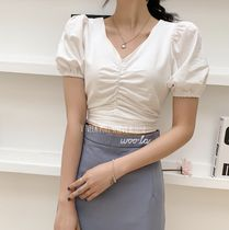 Short Casual Style Plain Cotton Puff Sleeves Cropped