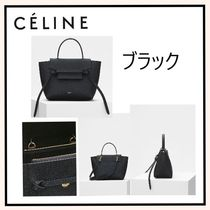 CELINE Belt Calfskin 2WAY Plain Elegant Style Crossbody Logo Handbags
