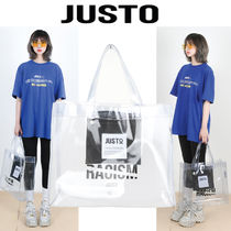 JUSTO Studded Street Style Plain Crystal Clear Bags PVC Clothing