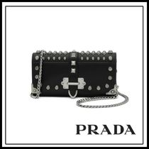 PRADA Studded Chain Leather Shoulder Bags