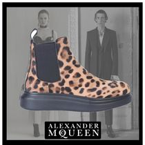 alexander mcqueen Leopard Patterns Casual Style Leather Chelsea Boots