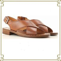 Church's Open Toe Rubber Sole Casual Style Plain Leather