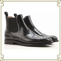 Church's Round Toe Studded Plain Leather Chelsea Boots Elegant Style