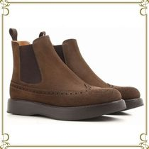 Church's Round Toe Suede Studded Plain Chelsea Boots Elegant Style