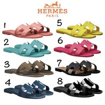 HERMES Oran Casual Style Plain Leather Sandals