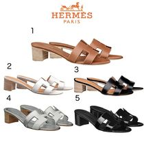 HERMES Oran Casual Style Leather Sandals