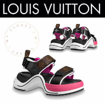 Louis Vuitton MONOGRAM Monogram Rubber Sole Casual Style Blended Fabrics Leather