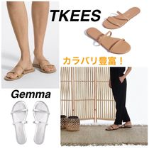 TKEES GEMMA Open Toe Rubber Sole Casual Style Street Style Plain Leather