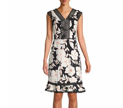 Flower Patterns Casual Style Sleeveless Flared Party Style