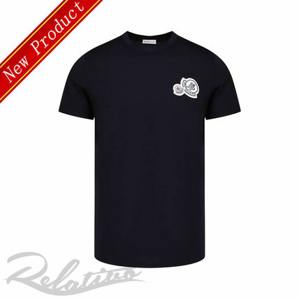 MONCLER Crew Neck Crew Neck Street Style Cotton Short Sleeves