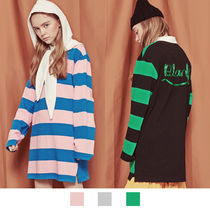 BLANK Stripes Casual Style Street Style Long Sleeves Cotton Long