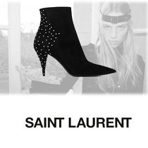 Saint Laurent Casual Style Suede Studded Plain Ankle & Booties Boots