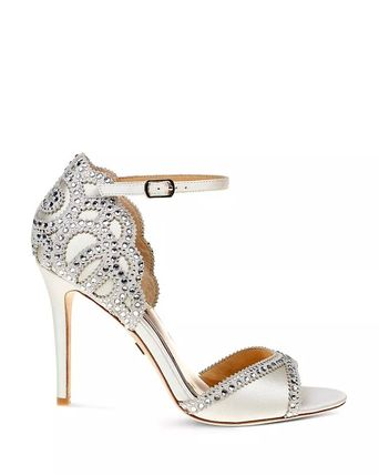 Open Toe Pin Heels Party Style With Jewels Heeled Sandals