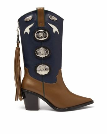 Cowboy Boots Casual Style Studded Plain Leather Block Heels