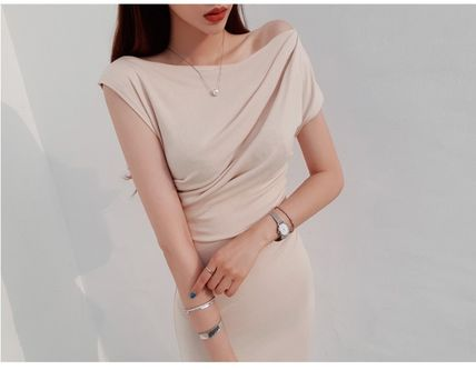 Casual Style Tight Plain Long Party Style Office Style