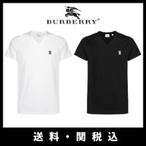 Burberry Short Street Style V-Neck Plain Cotton Short Sleeves Cropped