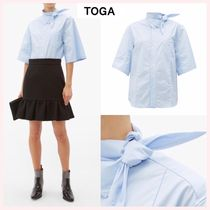 TOGA Plain Cotton Medium Short Sleeves Elegant Style