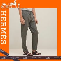 HERMES Tapered Pants Plain Cotton Tapered Pants