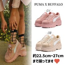 Buffalo LONDON Platform Round Toe Lace-up Casual Style Suede Street Style