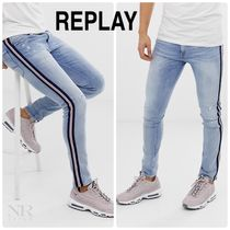 REPLAY Stripes Street Style Plain Jeans & Denim