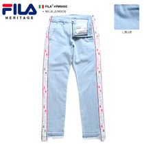 FILA Printed Pants Stripes Unisex Denim Street Style