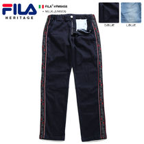 FILA Printed Pants Stripes Unisex Denim Street Style Oversized